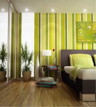 green wallpaper with stripes for nedroom decorating