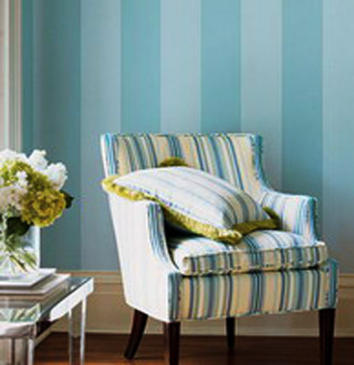 wall decoration with striped wallpaper in blue color