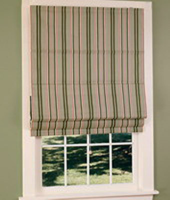 window curtain fabric with green stripes