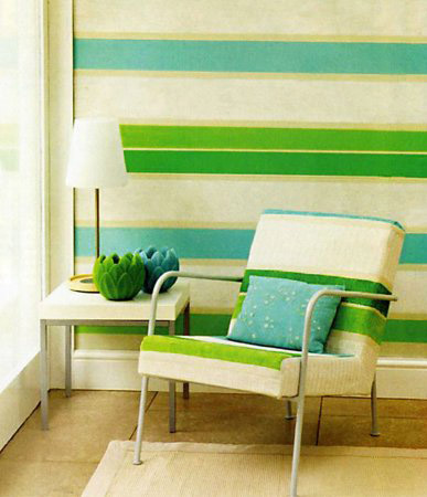 freen and white stripes on walls and striped fabric