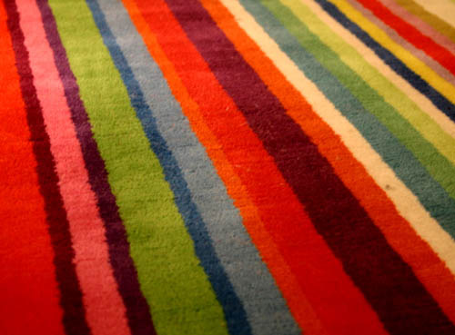 bright floor carpet with stripes