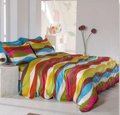 colorful striped bedding fabric