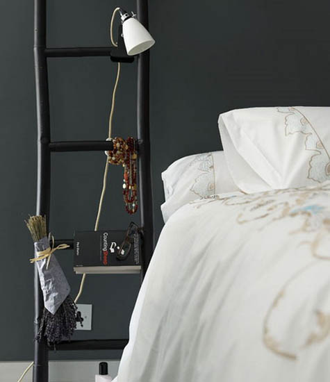 black wooden ladder for modern bedroom decorating