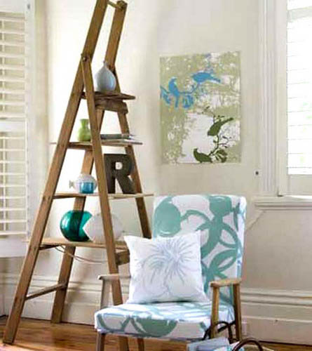 wooden ladder with shelves for living room decorating