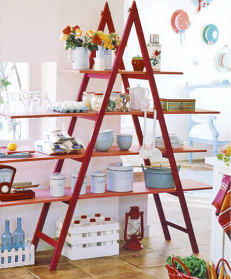red ladder with shelves for room decorating