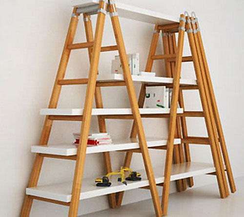 wooden ladders with shelves for room decorating