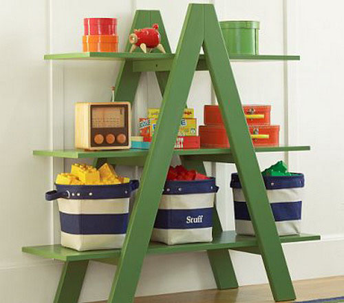 green ladder with shelves