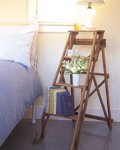 wooden ladder as night tale for bedroom decorating