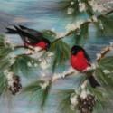winter birds wool painting