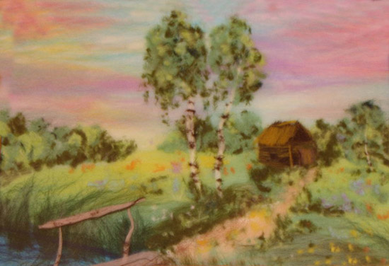 landscape wool painting