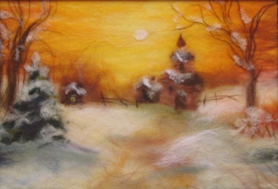 winter landscape wool fiber wall decoration