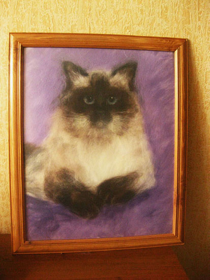 cat potrait wool painting