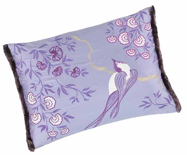 silk cushion in lilac color with bird and flowers images