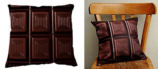 decorative pillows made of brown fabric with chocolate print