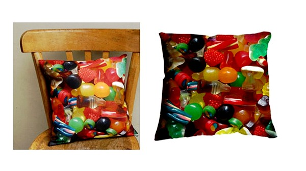 colorful decorative cushions with candy prints