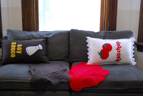 decorative cushions with food prints