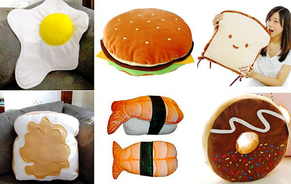 food designs on large pillows