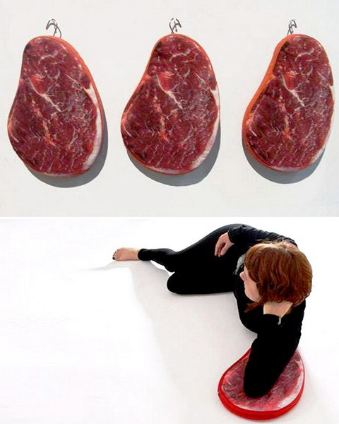 large cushions with red meat prints