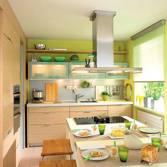 Green Paint And Kitchen Accessories, Small Kitchen