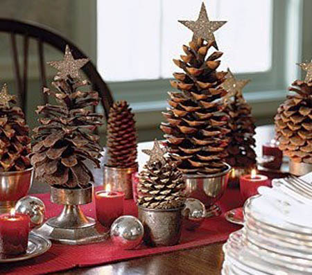 pine cones for christmas table decoration