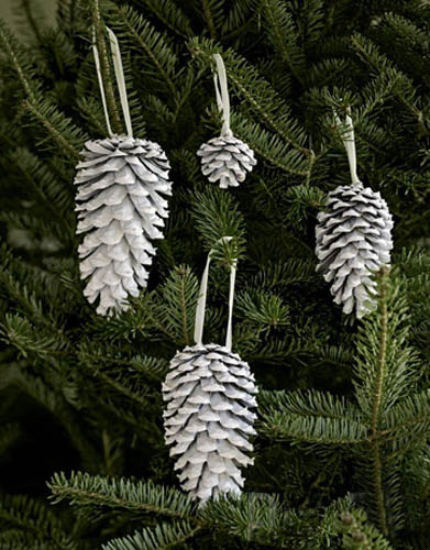 white pine cones for christmas tree decorating