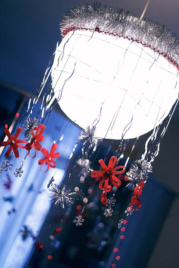 ceiling light with handmade christmas decorations