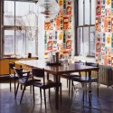 retro wallpaper for dining room decorating in red and orange colors
