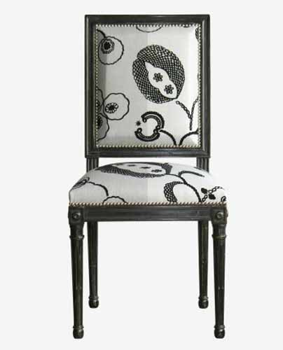 black and white chair upholstery fabric with floral pattern