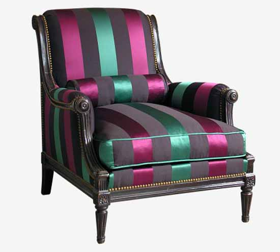 vintage chair upholstery fabric with green and purple stripes
