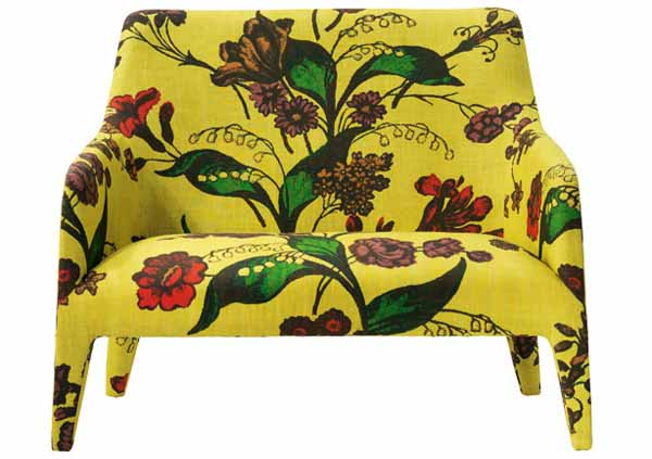 yellow designer chair with floral fabric print