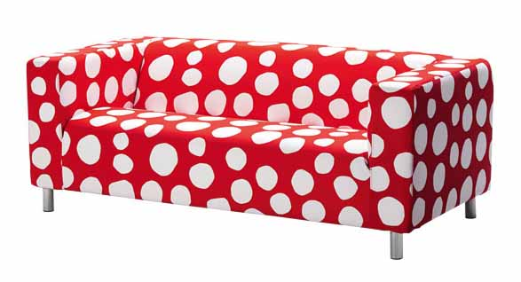 polka dot sofa in red color