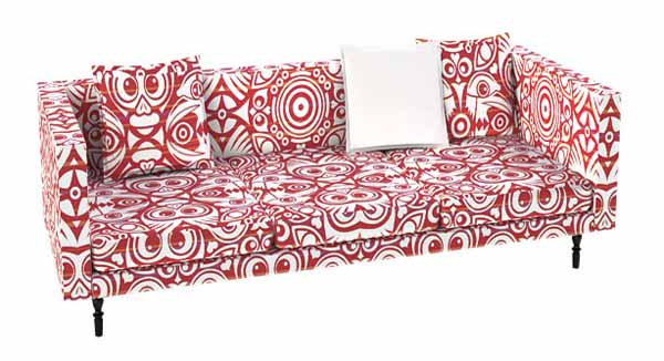 red and white sofa vintage furniture