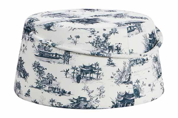 blue and white furniture upholstery fabric ottoman