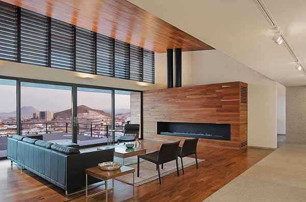 modern living room design with wood ceiling