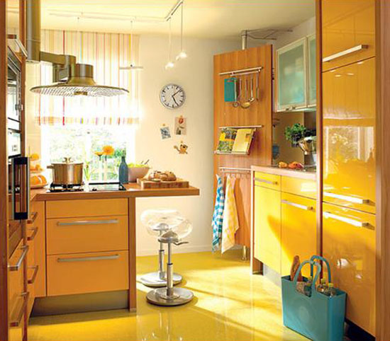 Kitchen Design Yellow Walls: Yellow And Turquoise Color Combination For Small Kitchen