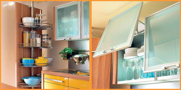 yellow and turquoise color combination for small kitchen design