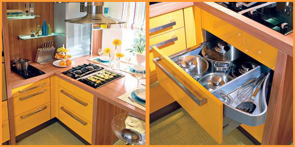 Yellow and Turquoise Color Combination for Small Kitchen ...