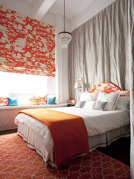 orange curtains, throw and bed upholstery fabric