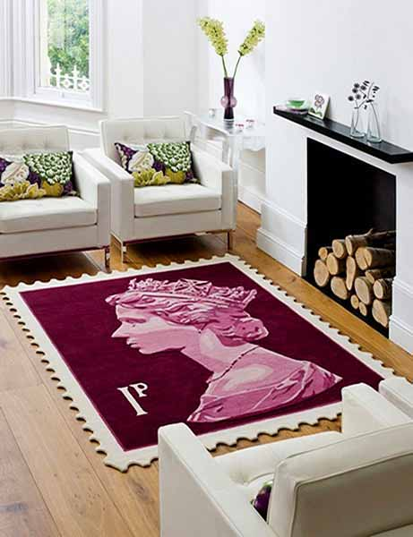 purple wool rug for floor decoration