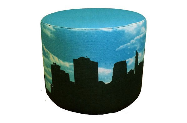ottoman with cityscape upholstery fabric print