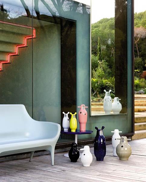 colorful porcelain vases