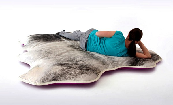 large pillow covers made of fur and leather