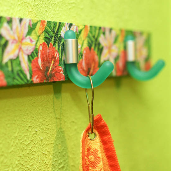 decoupage for wall hook rack decorating