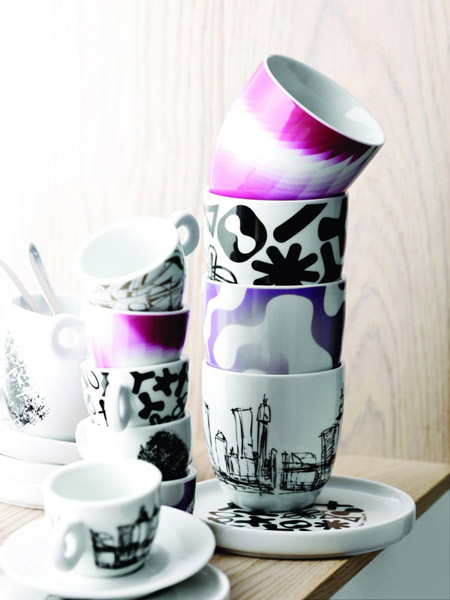 modern tableware in black and white with purple