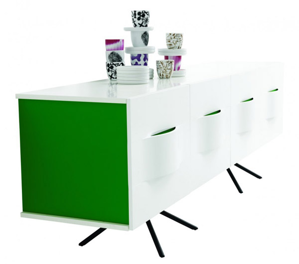 white and green storage cabinet for dining room
