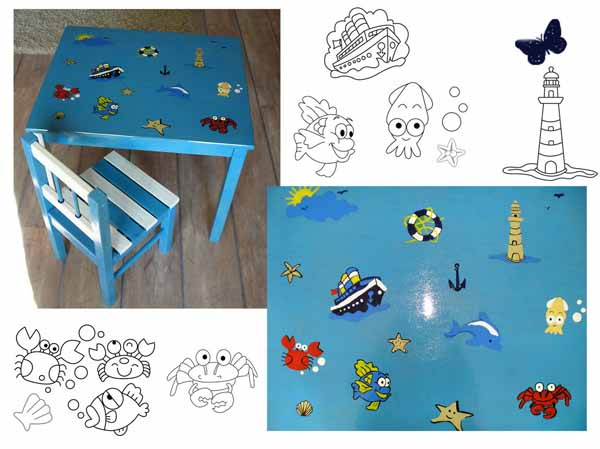 stencils for kids furniture decoration