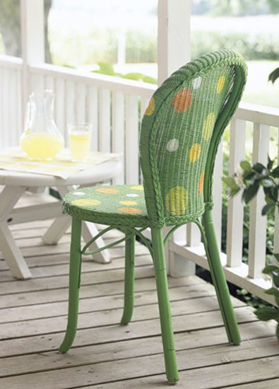 wicker chair decoration with paint and stencils