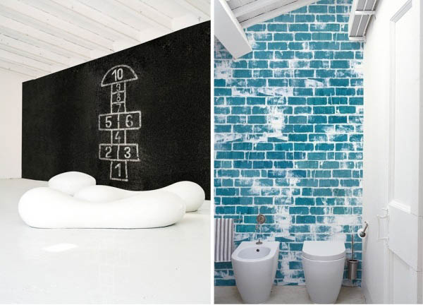 black and white wallpaper and blue brick wallpaper
