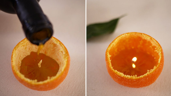 Diy candle centerpieces made of citrus fruits simple for Fruit orange decoration