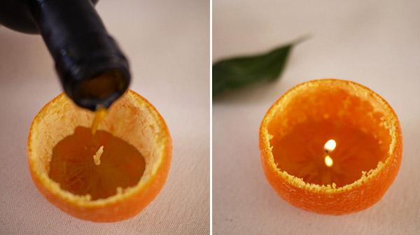 candle centerpiece idea using orange skin